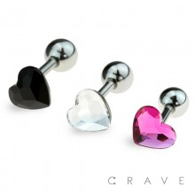 316L SURGICAL STEEL CARTILAGE BARBELL WITH SINGLE CZ HEART