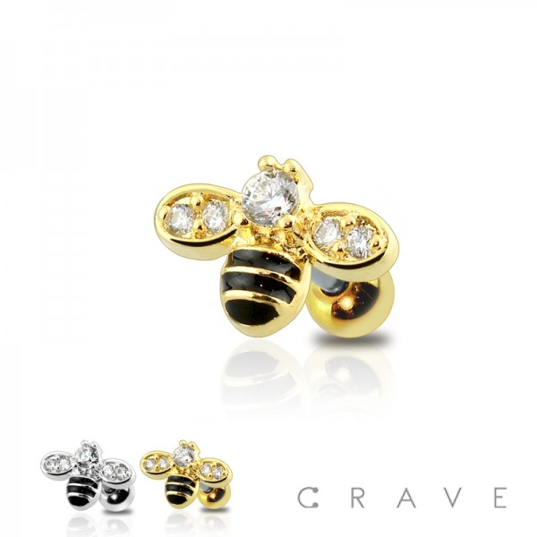 GEM PAVED EPOXY BUMBLEBEE 316L SURGICAL STEEL CARTILAGE BARBELL