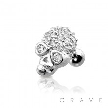316L SURGICAL STEEL CARTILAGE BARBELL WITH PAVED CZ SKULL
