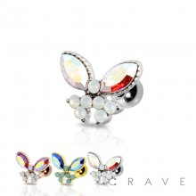 IRIDESCENT TONE GEM WITH SYNTHETIC OPAL BUTTERFLY 316L SURGICAL STEEL CARTILAGE BARBELL