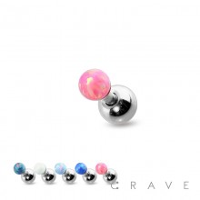 HIGH QUALITY 3MM OPAL 316L SURGICAL STEEL CARTILAGE BARBELL