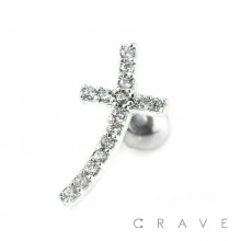 316L SURGICAL STEEL CARTILAGE BARBELL WITH GEM PAVED CROSS TOP PETITE