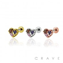 BEADED HEART-SHAPED DESIGN WITH MULTI-COLORED CZ CENTERED CARTILAGE BARBELL