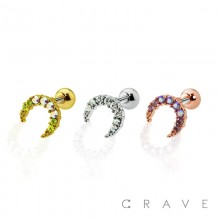 CZ STUDDED MOON CARTILAGE BARBELL