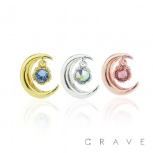 STAINLESS MOON WITH COLORED CZ GEM DANGLE CARTILAGE BARBELL