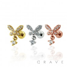 BEADED CZ BUTTERFLY DESIGN WITH CZ CENTERED DANGLE CARTILAGE BARBELL