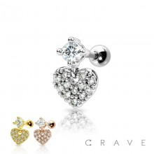 CZ PAVED DANGLE HEART 316L SURGICAL STEEL CARTILAGE BARBELL