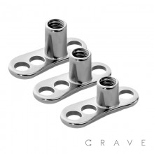 3 HOLE DERMAL ANCHOR BASE 316L SURGICAL STAINLESS STEEL