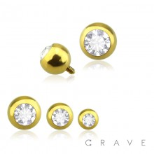 GOLD PVD PLATED OVER 316L SURGICAL STEEL INTERNALLY THREADED PRESS FIT ROUND GEM BALL DERMAL ANCHOR HEAD