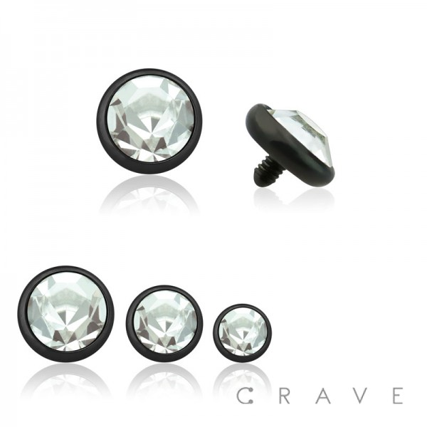 BLACK PVD PLATED OVER 316L SURGICAL STEEL INTERNALLY THREADED DERMAL ANCHORS W/ GEM SET FLAT BOTTOM DOME