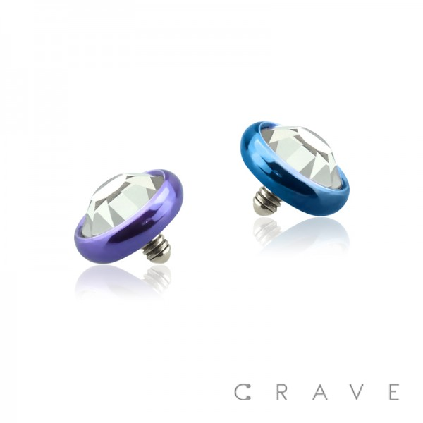 COLOR PVD PLATED OVER 316L SURGICAL STEEL INTERNALLY THREADED DERMAL ANCHORS W/ GEM SET FLAT BOTTOM DOME