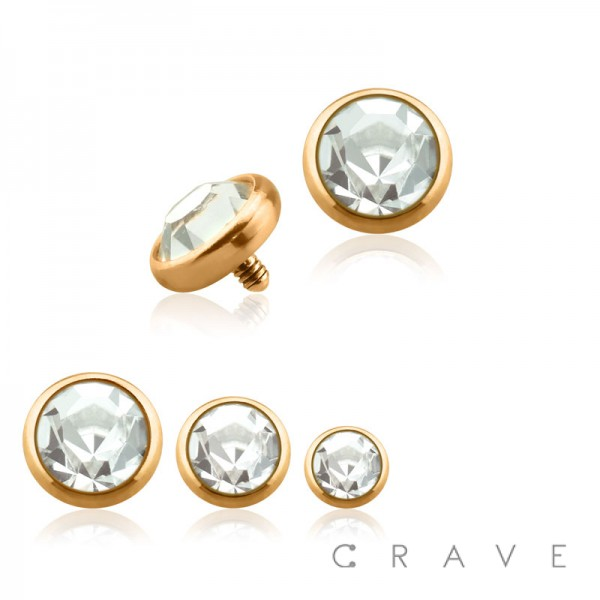 ROSE GOLD PVD PLATED OVER 316L SURGICAL STEEL INTERNALLY THREADED DERMAL ANCHORS W/ GEM SET FLAT BOTTOM DOME