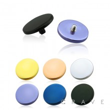 PVD PLATED OVER 316L SURGICAL STEEL INTERNALLY THREADED ROUND FLAT DISC DERMAL TOP