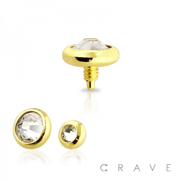 GOLD PVD PLATED OVER 316L SURGICAL STEEL PRESS FIT INTERNALLY THREADED DERMAL ANCHOR TOP
