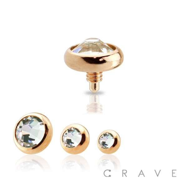 316L SURGICAL STEEL ROSE GOLD INTERNALLY THREADED DERMAL ANCHOR HEAD WITH PRESS FIT CLEAR GEM