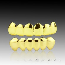 GOLD GRILLZ 6 TEETH MOUTH TOP & BOTTOM HIP HOP BLING GRILLS