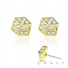 PAIR OF STAINLESS STEEL PIN GEM PAVED FLAT DICE STUD EARRING