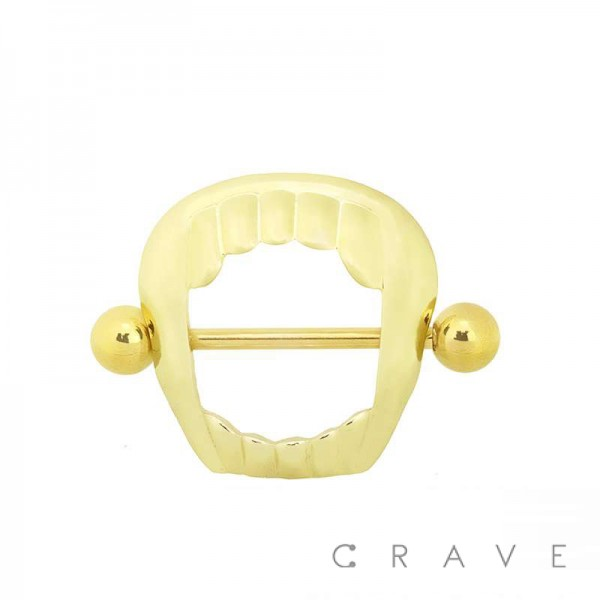 316L SURGICAL STEEL VAMPIRE MOUTH NIPPLE SHIELD