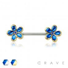 CRYSTAL STONE BLUE FLOWER DESIGN 316L SURGICAL STEEL NIPPLE BAR