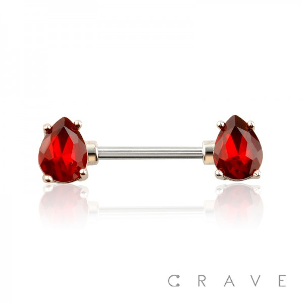 TEARDROP RUBY RED GOLD ACCENT PRONG SET 316L SURGICAL STEEL NIPPLE BAR