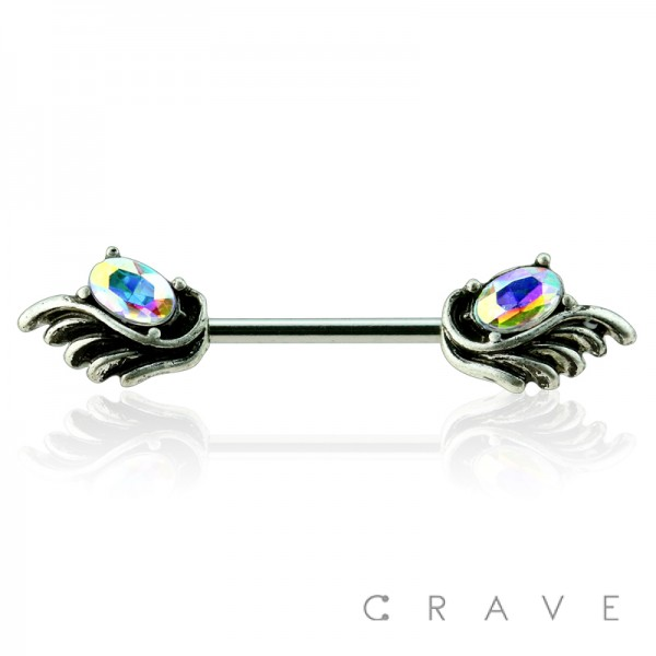 ANGEL WING WITH OVAL AURORA BOREALIS GEM ENDS 316L SURGICAL STEEL BARBELL NIPPLE BAR