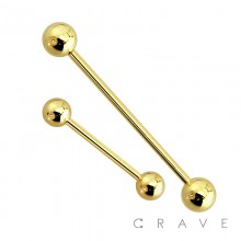 GOLD PVD PLATED OVER 316L SURGICAL STEEL BARBELL