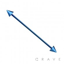 BLUE PVD PLATED OVER 316L SURGICAL STEEL INDUSTRIAL BARBELL WITH SPIKES