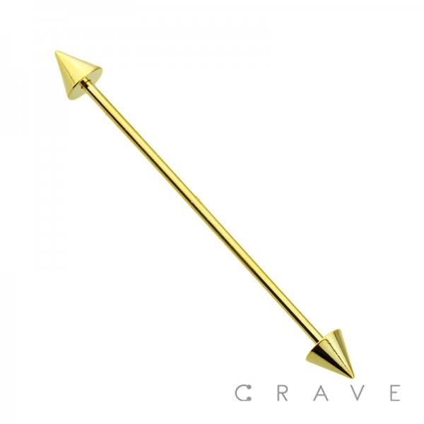 GOLD PVD OVER 316L SURGICAL STEEL BARBELL WITH SPIKE