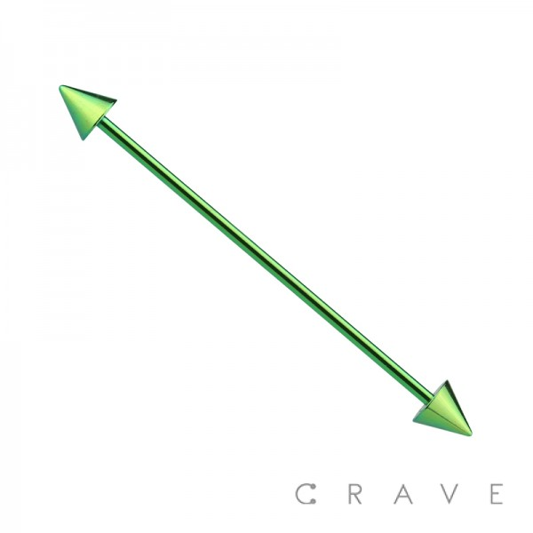 GREEN PVD PLATED OVER 316L SURGICAL STEEL INDUSTRIAL BARBELL WITH SPIKES
