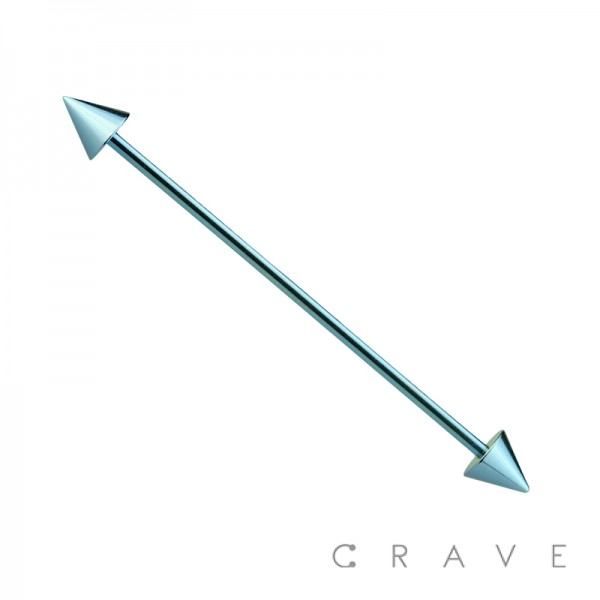 LIGHT BLUE PVD PLATED OVER 316L SURGICAL STEEL INDUSTRIAL BARBELL WITH SPIKES