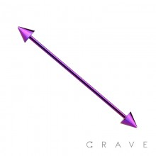 PURPLE PVD PLATED OVER 316L SURGICAL STEEL INDUSTRIAL BARBELL WITH SPIKES