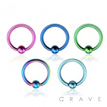 TITANIUM IP PLATED CAPTIVE BEAD RING OVER 316L SURGICAL STEEL