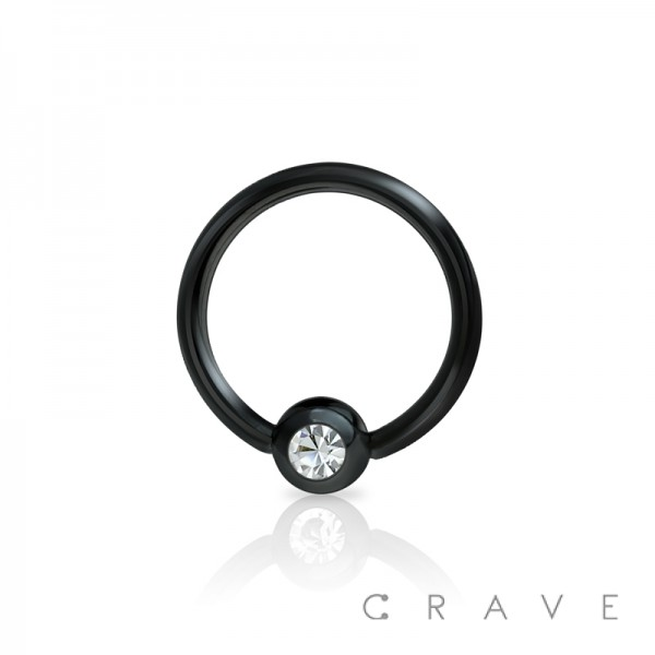 BLACK PVD PLATED CAPTIVE BEAD RING WITH GEM BALL