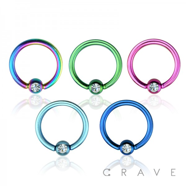 PVD PLATED OVER 316L SURGICAL STEEL CAPTIVE BEAD RING WITH GEM