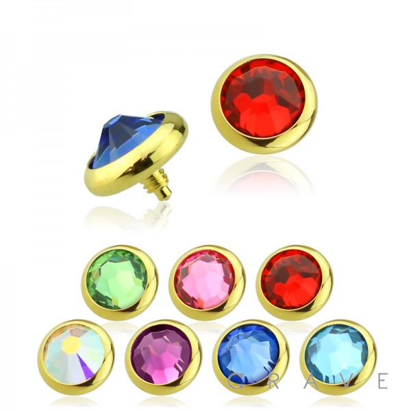 GOLD PVD PLATED OVER 316L SURGICAL STEEL PRESS FIT INTERNALLY THREADED COLOR GEM DERMAL ANCHOR TOP