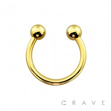 GOLD PVD PLATED OVER 316L SURGICAL STEEL HORSESHOE WITH BALLS