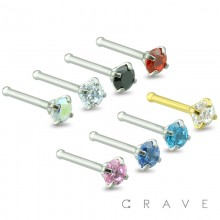 316L SURGICAL STEEL NOSE BONE STUD WITH PRONG SET CZ