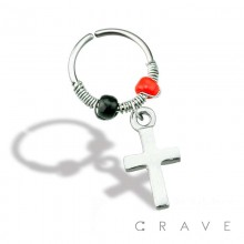 CROSS DANGLE W/ BLACK AND RED BEADS 316L SURGICAL STEEL NOSE HOOP