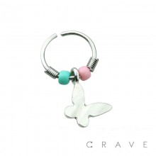 BUTTERFLY DANGLE W/ PINK AND BLUE BEADS 316L SURGICAL STEEL NOSE HOOP