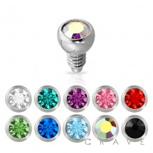 DERMAL ANCHOR HEAD WITH 2MM ROUND COLOR GEM