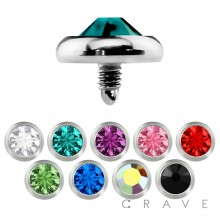 DERMAL ANCHOR HEAD WITH 4MM ROUND COLOR GEM