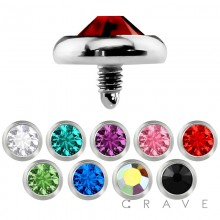 DERMAL ANCHOR HEAD WITH 5MM ROUND COLOR GEM