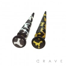 ACRYLIC FAKE TAPER WITH COW PATTERN (ANIMAL)