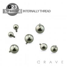 10PCS OF GRADE 23 SOLID TITANIUM INTERNALLY THREADED BALLS PACKAGE