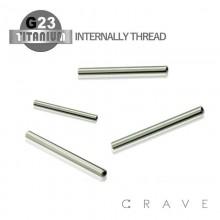 10PCS OF GRADE 23 SOLID TITANIUM INTERNALLY THREADED STRAIGHT BAR PACKAGE(16GA,14GA)