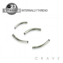 10PCS OF GRADE 23 SOLID TITANIUM INTERNALLY THREADED CURVED BAR PACKAGE(16GA,14GA)