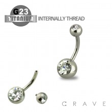GRADE 23 SOLID TITANIUM INTERNALLY THREADED NAVEL RINGS WITH PRESS FIT CLEAR GEM