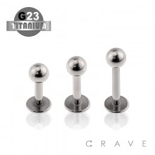 GRADE 23 SOLID TITANIUM LABRET STUDS WITH BALL