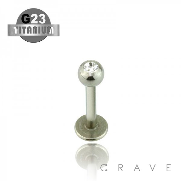 GRADE 23 SOLID TITANIUM LABRET STUDS WITH PRESS FIT CLEAR GEM BALL