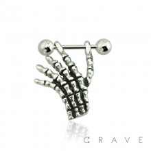316L SURGICAL STEEL SKELETON HAND CARTILAGE EAR CUFF